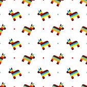 stock photo of pinata  - Seamless pattern with toy horse Mexican pinata vector background - JPG