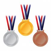 image of olympiad  - An illustration of gold silver and bronze competition medals with American flag colored ribbon - JPG