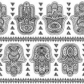 image of indian  - Vector Indian hand drawn hamsa symbol seamless pattern - JPG