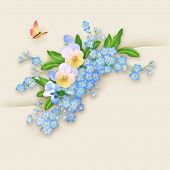 pic of forget me not  - Floral vector greeting card with forget - JPG