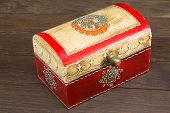 pic of jewel-case  - colorful wooden jewel box ethnic style on wooden table - JPG