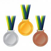 stock photo of olympic-games  - An illustration of Olympic gold silver and bronze medals and ribbons with Brazil colors - JPG