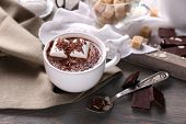 foto of trays  - Hot chocolate with marshmallows in mug - JPG