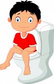 stock photo of toilet  - Vector illustration of Little boy cartoon sitting on the toilet - JPG