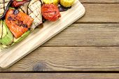 picture of sweet-corn  - Grilled Vegetables On The Cutting Board - JPG