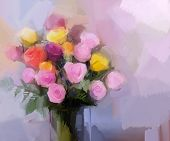 pic of vase flowers  - Still life a bouquet of flowers - JPG