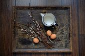 picture of willow  - Willow branches with egg on an old vintage wood from willow - JPG