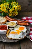 picture of pommes de terre frites  - Lunch time with eggs and fried sausages - JPG