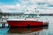 pic of coast guard  - Motor boat of a coast guard parked in Annecy France - JPG