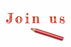 image of joining  - Join us sketch text written red pencil white background - JPG