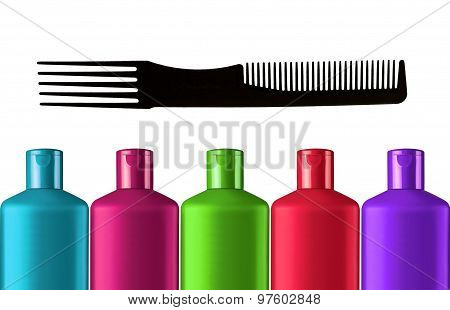 Plastic Colorful Bottles Shampoo And Black Comb Isolated On White