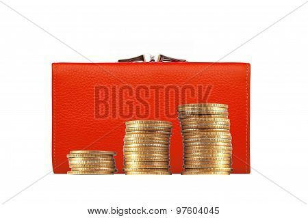 Woman Red Purse (wallet) And Golden Coins Isolated On White