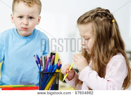 Children Playing. Little Boy And Girl Spending Time Together