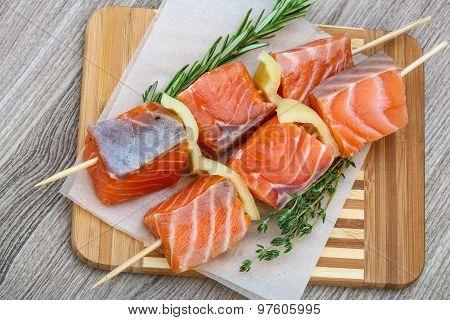Raw Salmon Skewers