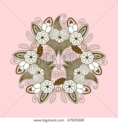 Hand-drawn paisley pattern with flowers. Pattern can be used for wedding cards, wallpaper, backgroun