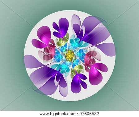 Abstract Fractal Design. Neon Flower In Circle.