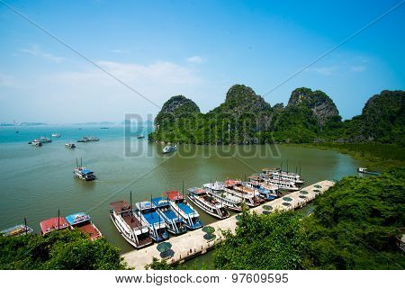 Beautiful seascape with boats in Halong bay
