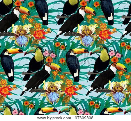 Seamless pattern with toucans and flowers. Hand drawn ornament.