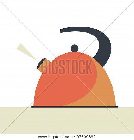 Boiling Kettle Flat Vector.