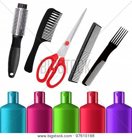 Shampoo Bottles, Red Scissors And Combs Isolated On White