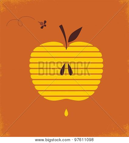 Rosh hashana greetng card with abstract apple