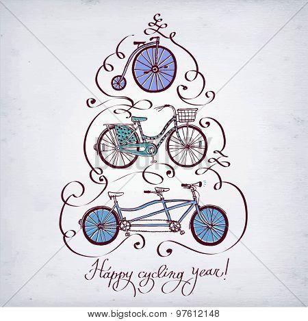 Doodle Vintage Bicycle Set