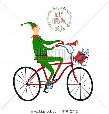Christmas Elf Cyclist Illustration