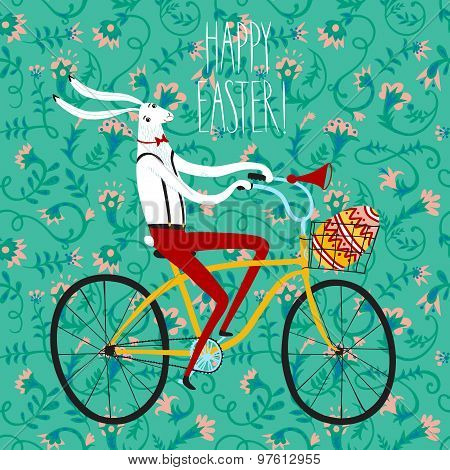 Easter Rabbit Cyclist Illustration