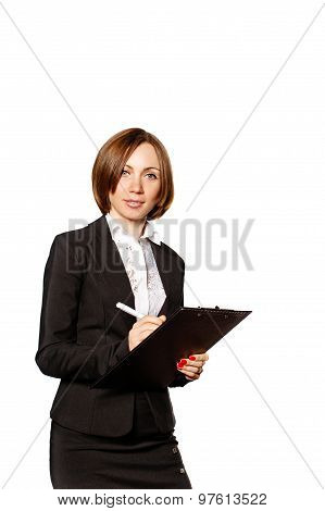 Business Woman Writes Customer Requirements In Checklist.