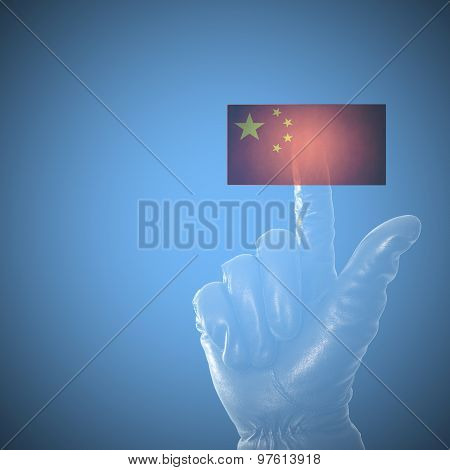 Online Hacking China Concept With Balck Leather Glove On Touch Screen