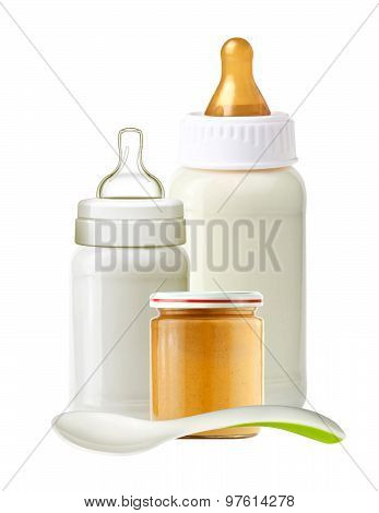 Baby Milk Bottles, Jar Of Baby Puree And Spoon Isolated On White