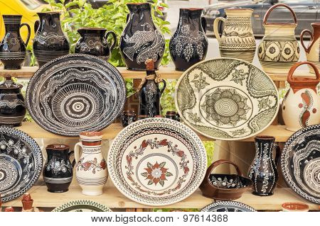 Traditional pottery display