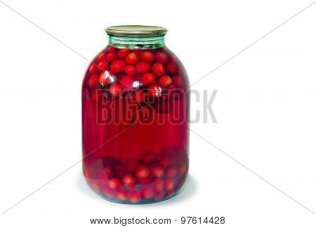 Home Canning: Glass Cylinders With Cherry Compote On White Background.