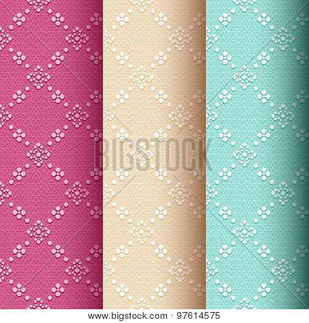 Collection of 3 vintage seamless classic pattern