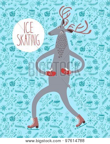 Cute Deer Ice Skater On Decorative Background