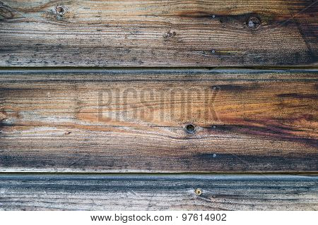 Old Wooden Wall With Rusty Nails, Dark Brown Texture