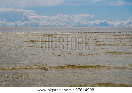 Brown Waves Of Baltic Sea And Cumulus Clouds On Background