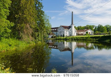 Palmse Distillery Reflection In Water Of Pond