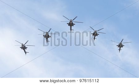 Five Military Helicopters Mi-28