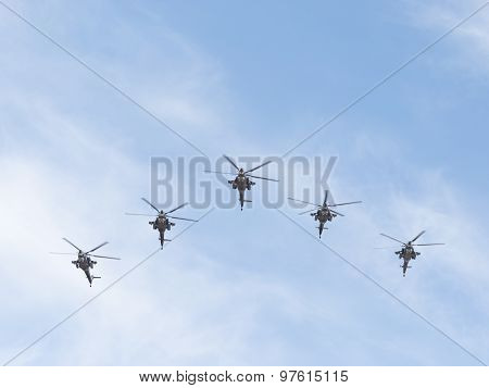 Five Military Mi-28 In Flight