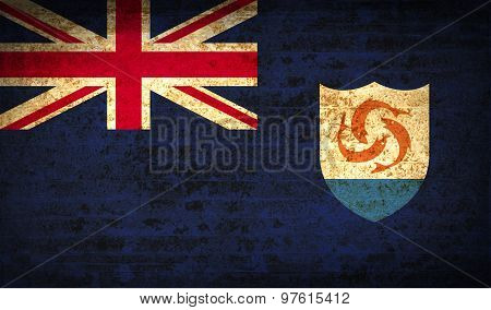 Flags Anguilla With Dirty Paper Texture. Vector