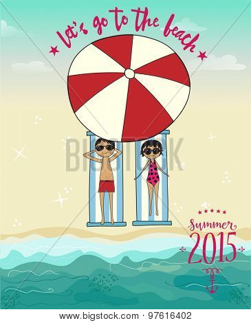 Let's Go to the Beach Summer Poster, featuring cute cartoon couple under red and white umbrella, on a sandy beach at the sea. Hand drawn, cartoon style vector illustration