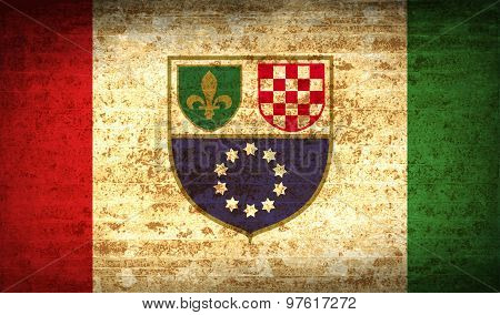 Flags Bosnia And Herzegovina Federation With Dirty Paper Texture. Vector