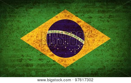 Flags Brazil With Dirty Paper Texture. Vector