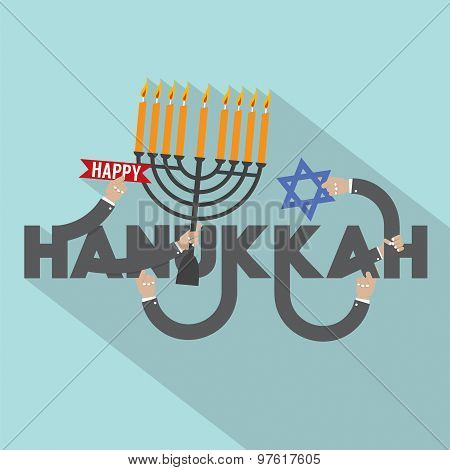 Happy Hanukkah Typography Design.