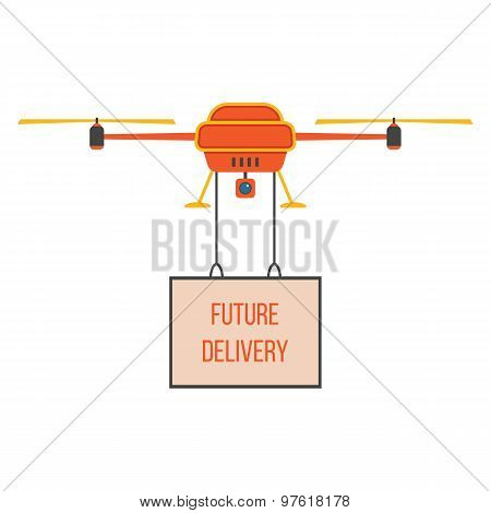 future delivery with red and yellow quadrocopter