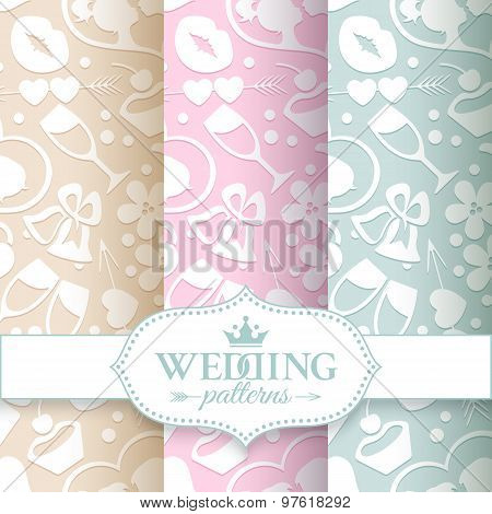 Pale romantic seamless patterns
