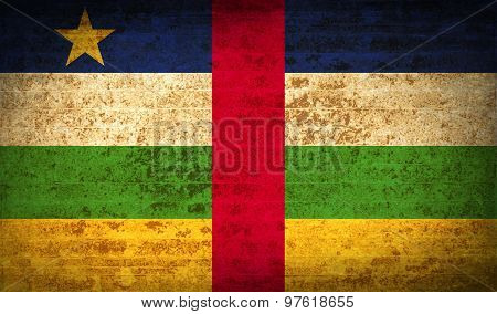 Flags Central African Republic With Dirty Paper Texture. Vector