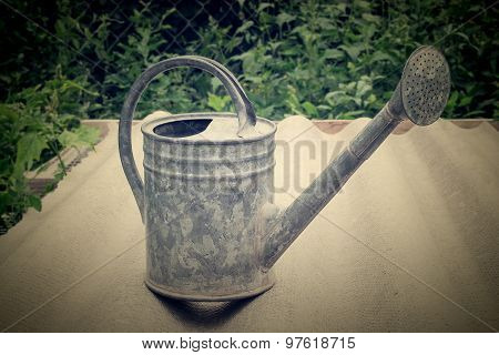 An Old Galvanized Watering Can To Water Plants