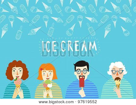 Hand Drawn Ice Cream Poster With People.